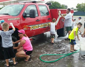 Jones Fire Department Washing Trucks